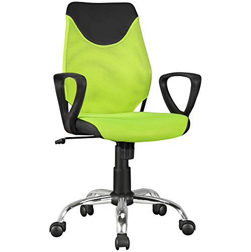 FineBuy Kinder-Schreibtischstuhl Grün Kim für Kinder ab 6 mit Lehne   Kinder-Drehstuhl Kinder-Bürostuhl ergonomisch   Jugendstuhl höhenverstellbar