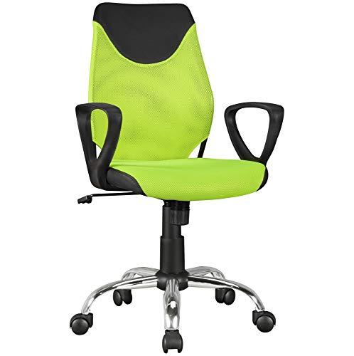 FineBuy Kinder-Schreibtischstuhl Grün Kim für Kinder ab 6 mit Lehne | Kinder-Drehstuhl Kinder-Bürostuhl ergonomisch | Jugendstuhl höhenverstellbar