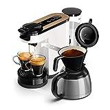 Philips HD6596/01 Machine à café SENSEO SWITCH  2 en 1  - Blanc et bois