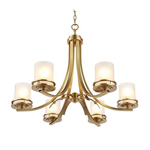 Joeyhome européen lustre en cuivre pur éclairage lampe suspension salon en verre abat-jour lustres salle à manger salle appartement plat, 6 têtes