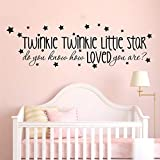 Twinkle Twinkle Little Star Canción Letras Etiqueta de la pared Baby Nursery Habitación para niños ¿Sabes cómo me encanta la familia cita cita DIY 80x20cm