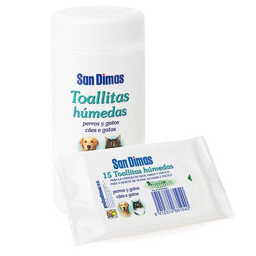 Bote 50 toallitas húmedas para limpieza de oidos, hocicos y ojos de perro y gato