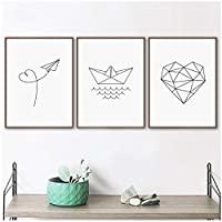 LIUYUEKAI ミニマリスト幾何学的なハート紙ボート平面壁アートキャンバス絵画ポスターとプリント北欧の壁の写真ベビーキッズルームの装飾-40x50cmx3フレームなし