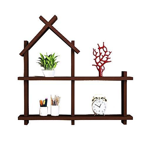 Wohnwände Wandregal Aus Massivem Holz Wand Montiert Kreative Gitter Storageshelf Bücherregal Dekor Display Regale-kleines Haus Schindeln Stabiles Lagerregal (Color : Walnut Color)