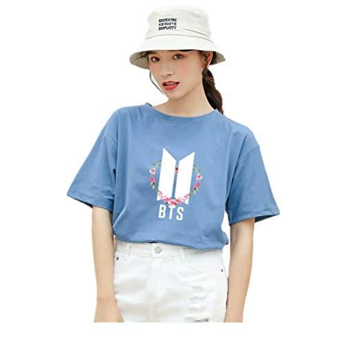 FaLaidi BTS Suga - Camiseta de manga corta para mujer (cuello redondo) azul L