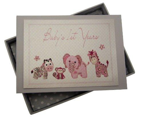 White Cotton Cards Baby's 1st Years Mini album photo pour bébé fait main Rose