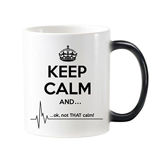 Taza de café con asas con texto 'Keep Calm And Black Funny Crown Electrocardiograma' con texto 'Morphing', sensible al calor, cambia de color, 350 ml