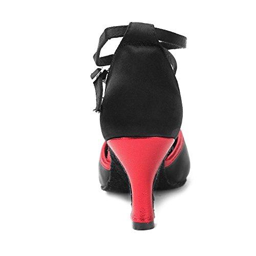 YKXLM Damen & Mädchen Ausgestelltes Tanzschuhe/Standard Ballsaal Latein Dance Schuhe,DEWXCL-7,Schwarz+Rot,EU 37.5 - 9
