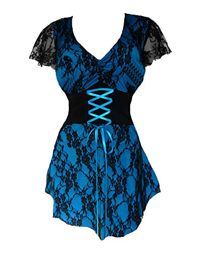 Dare to Wear Sweetheart Corset Top: Romantic Victorian Gothic Women's Lace Chemise for Everyday Halloween Cosplay Festivals, Turquoise M