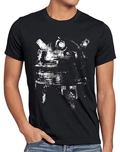 style3 Space Tintenkleks T-Shirt Herren zeitreise Serie Polizei notrufzelle, Größe:L