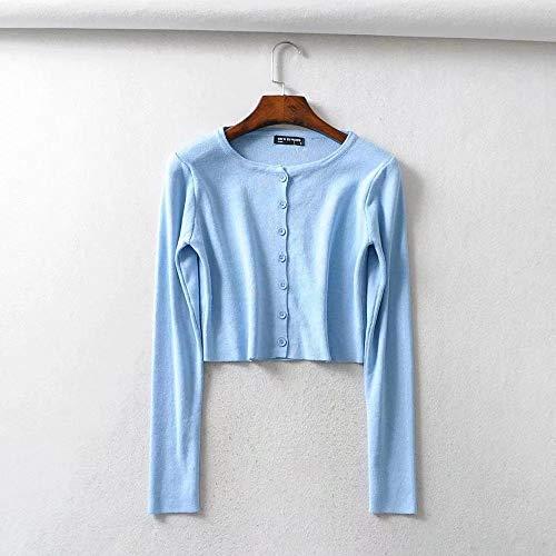 Las Mujeres Delgadas de Cárdigan de Punto O-Cuello Blusas géneros de Punto Cortos de Moda de Manga Corta de Protección Solar Hyococ (Color : Blue, Size : Small)