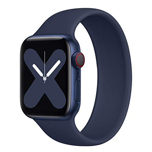 Rain gold Stretchy Solo Loop Strap Compatible with Apple Watch Band 42mm 44mm, No Clasps or Buckles Sport Elastics Silicone Women Men Replacement Wristband for iWatch Series SE/6/5/4/3/2/1, Deep Navy