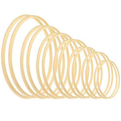 Larcenciel Kranz Ringe 14 Stück 7 Größen Holz Bambus Blumenkranz Makramee Craft Hoop Ringe für DIY Traumfänger, Hochzeitskranz Dekor und Wandbehang Handwerk(8 10 13 15 18 21 23cm)