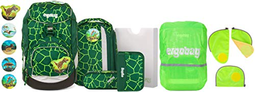 ergobag Pack BärRex Schulrucksack-Set 6tlg. + Sicherheitsset & Regencape Grün