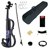 Kinglos 4/4 Blue Fire Colored Solid Wood Intermediate-B Electric/Silent Violin Kit with Ebony Fittings Full Size (DSZB0015)