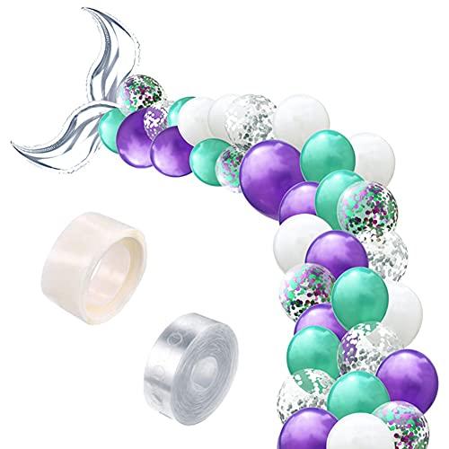 Kit de Ballon de Sirène, Queue de Sirène Ballon en Latex Ballon,Ballons Queue de Sirène de Confettis Les Fêtes de Sirène Baby Bridal Shower Décoration D'anniversaire