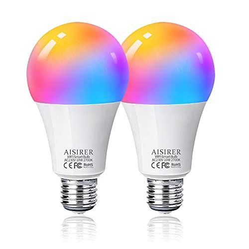 Bombilla LED Inteligente WiFi, AISIRER 10W 1000LM E27 Lámpara, WiFi Bombilla Luces Cálidas/Frías & RGB Funciona con Alexa (Echo, Echo Dot) Google Home, 16 Millones de Colores, Equivalente 90 W, 2 P