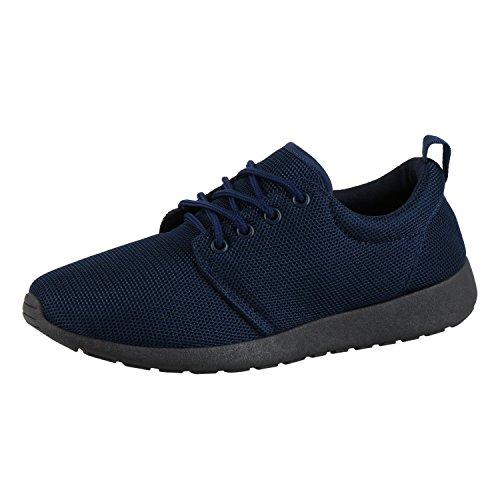 Japado Herren Schuhe Sportschuhe Bequeme Laufschuhe Profilsohle Sneakers Dunkelblau Navy 43