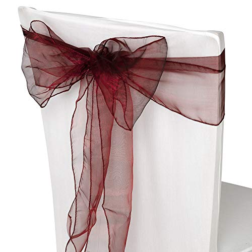 Trimming Shop Lot de 200 rubans de chaise en organza Bordeaux 17 x 280 cm
