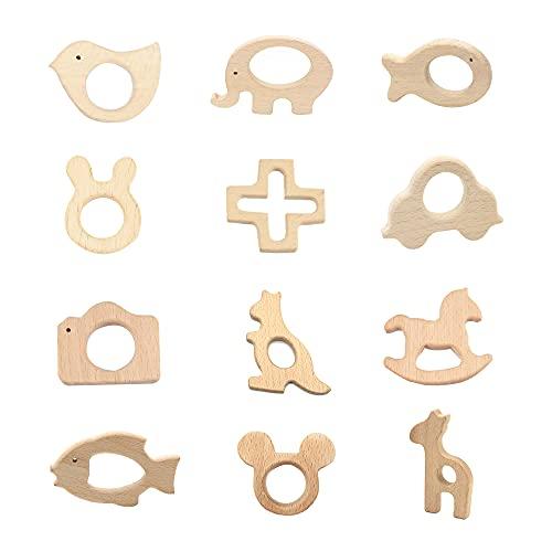 Gobesty Anillos de Dentición, 12 piezas anillo de dentición del bebé, juguete de mordedor de madera, bebé Infantil Juguete de mordedor, Animales de madera Mordedor para bebés
