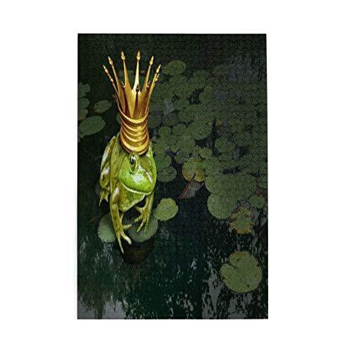 Impresa UV colorida, concepto de príncipe de rana con corona dorada concepto de cuento de hadas, patrón de sierra de calar incluidas, 1000 piezas de madera regalo de la familia
