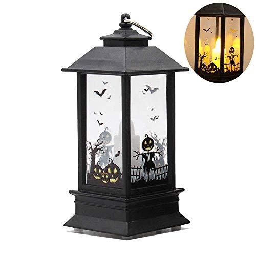 Retero dekorative Halloween-LED-Lampe, hängende Laterne, Flamme, Licht für Halloween, Tischdekoration (Kürbis)