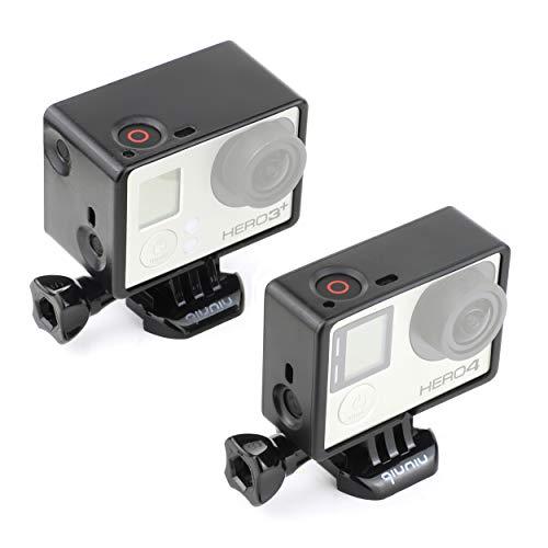 Frame Mount Gehäuse Combo für GoPro Hero 4 3 3+ Action Kamera - inkl. Standard-Rahmen, Bacpac Zubehör Rahmen, lange Rändelschraube, UV-Schutzlinse, Objektivdeckel und Seitentürabdeckung - Schwarz
