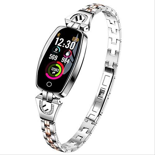POKQHG Vrouwen Mode Sport Smart Omen Smart Armband Band Bluetooth Hartslagmeter Fitness Tracker Smartwatch Voor Android Ios Klok, ZILVER