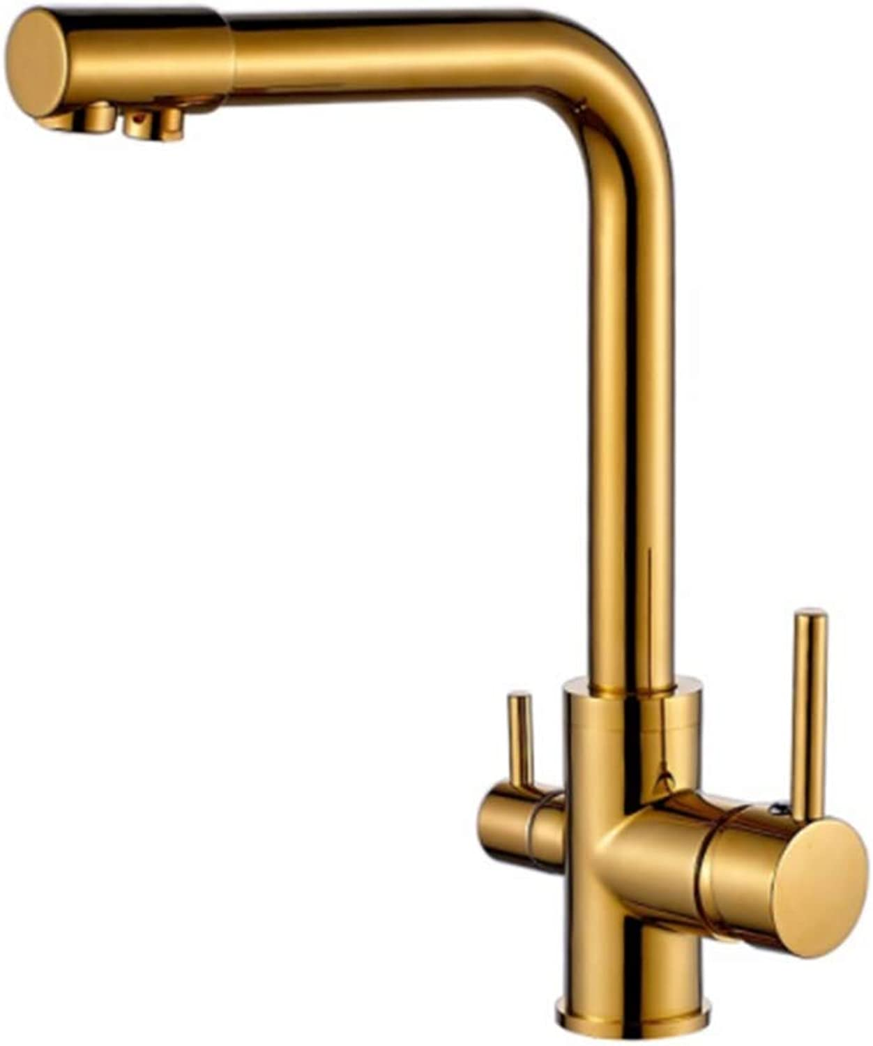 Taps Kitchen Basin Bathroom Washroom100% Copper gold Finished Swivel Drinking Water Faucet 3 Way Water Filter Purifier Kitchen Faucets for Sinks Taps