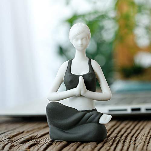 Estatuas Escultura Estatuillas,Negro De Cerámica Creativa Hermosa Chica Yoga Figura Arte Escultura Figurilla Coleccionable,Adornos Artesanales De Escritorio Estatuillas De Arte Decorativa para Inte