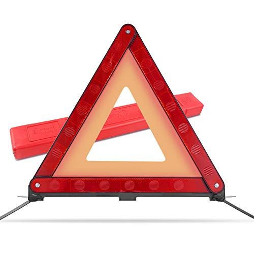MYSBIKER Riflettori triangolari di Avvertimento, Kit Triangolo di Sicurezza Stradale Riflettente di Avvertimento, Triangolo d Emergenza per autoveicoli con Custodia in plastica (1 Pack)