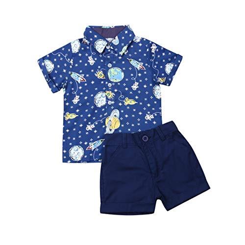 Geagodelia Conjunto Niños Bebés Verano Gentleman Camiseta de Manga Corta Pantalón Corto Ropa Bautizo de 2 Piezas (Planeta-Azul, 12-18 Meses)