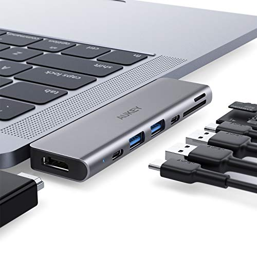 AUKEY USB C Hub MacBook Pro with 4K HDMI, Thunderbolt 3, 2 USB 3.0, USB-C Data Port, SD and MicroSD Card Reader USB Type C Hub Compatible with MacBook Air 2018/2019 and MacBook Pro 2019/2018-2016