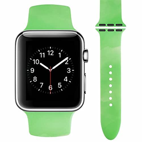 Vozehui Compatible con correa de reloj Apple 38, 40, 42, 44 mm, patrón de color, silicona suave, impermeable, correa de repuesto para iWatch Series SE 6, 5, 4, 3, 2, 1, mujeres y hombres, 42mm/44mm,