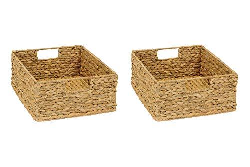 INWONA 2er-Set Regal Korb für Halbes Fach IKEA Kallax Regal/Wasserhyazinthe Natur Faltkorb Flechtkorb Regalbox Storage Box Aufbewahrungskorb Schrankkorb sehr stabil 31 x 34 x 15 cm