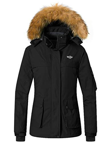 Womens Black Insulated Windproof Ski Snow Jacket with Detachable Hood