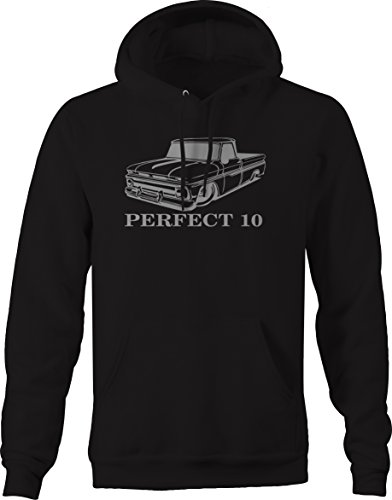 Bold Imprints Racing C10 Hotrod Fleetside 1960s Pickup Truck Hooded Hoodie for Men XLarge Black