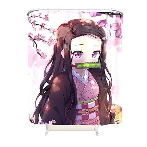 Ballbollbll Demon Slayer Nezuko, cortina de ducha resistente al moho y al moho, 100% tela de poliéster, lavable, duradera, de secado rápido, con 12 ganchos para proteger el color blanco 91 x 180 cm