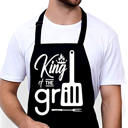 Funny Apron Gifts for Men - Grill Apron for Dad, Husband, Boyfriend - BBQ Adjustable Bib Aprons with Pockets Waterproof - King of The Grill Apron Gift for Fathers Day, Birthday, Christmas