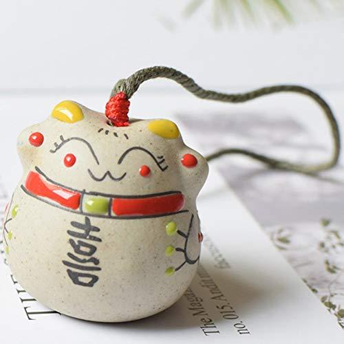 wiFndTu 3 x Windspiele mit Glückskatze aus Keramik, Feng Shui, Windglocke, Glückskatze mit Anhänger, Auto-Ornament zum Aufhängen, Feenfiguren mit Glocke für Glück (#3)