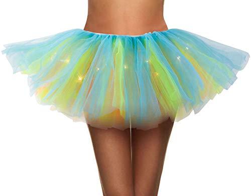 Simplicity Womens LED Light Tutu Skirt Dance Rave Tutu Skirt Dress,Rainbow