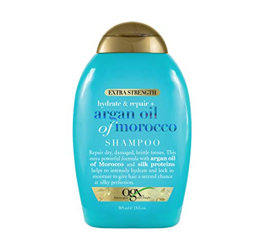 OGX Extra Strength Hydrate & Repair + Argan Oil of Morocco Shampoo for Dry, Damaged Hair, Cold-Pressed Argan Oil to Moisturize & Smooth, Paraben-Free, Sulfate-Free Surfactants, 13 fl oz