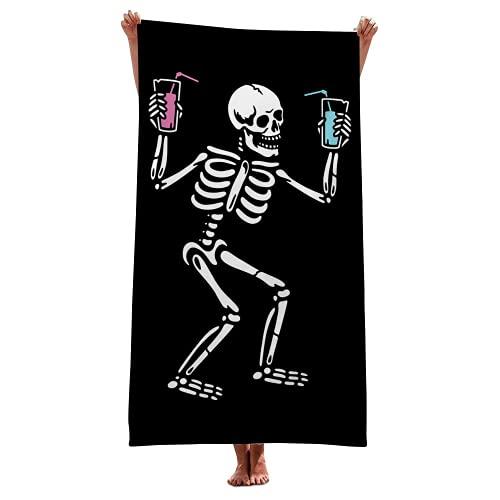 YIOUY Cráneo Toallas De Playa Esqueleto Microfibra, Adulto Niño Toalla Playa Chico Niña Toallas De Baño, Múltiples Tamaños, Súper Suave Y De Secado Rápido (F,75x150cm)