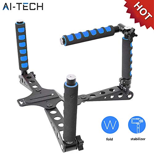 AiTech Dslr Rig Soporte De Hombro Para Cualquier Fotocamera y Videocamera Dslr Rig Plegable Aleacion De Aluminio Plataforma Estabilizadora Rodaje De Peliculas
