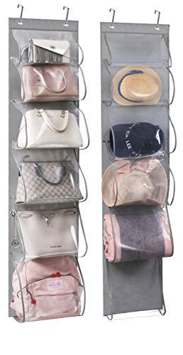 KIMBORA Organizador de bolsos de mano con 6 bolsillos profundos de fácil acceso, 2 paquetes para pared de armario, color gris