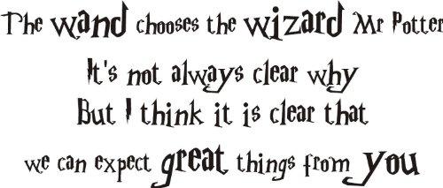 Harry Potter Olli Vander Baguette Sticker mural en vinyle texte. Film pour enfant, Vinyle auto-adhésif, rose clair, LARGE 120x60cm