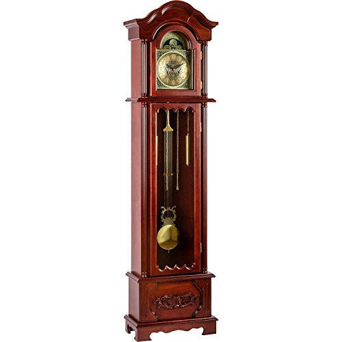 Maxstore Große mechanische Retro Vintage Standuhr Kronos Mahagoni, 200 cm x 52 cm x 25 cm, Regulator, Pendeluhr antik Holz