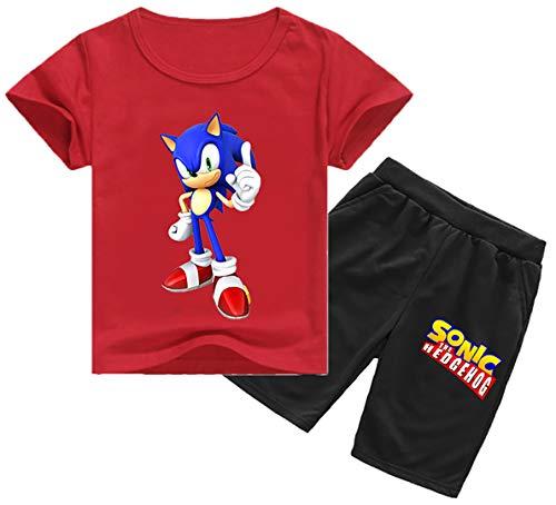 Silver Basic Sonic The Hedgehog Bekleidungssets lustige Animation Jogginganzüge Jugendliche Sommer Suit, Red-Sonic-1201