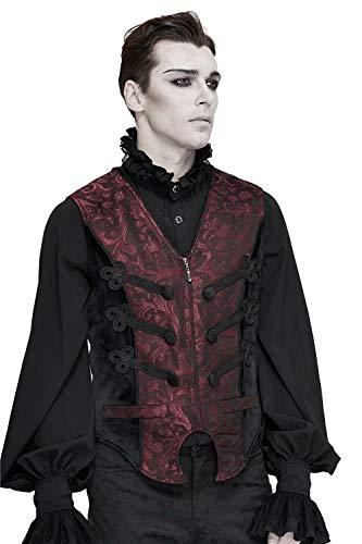 Devil Fashion Chaleco gótico con cuello en V y cola de milano medieval, retro, talla grande, para hombre, color rojo S-4XL