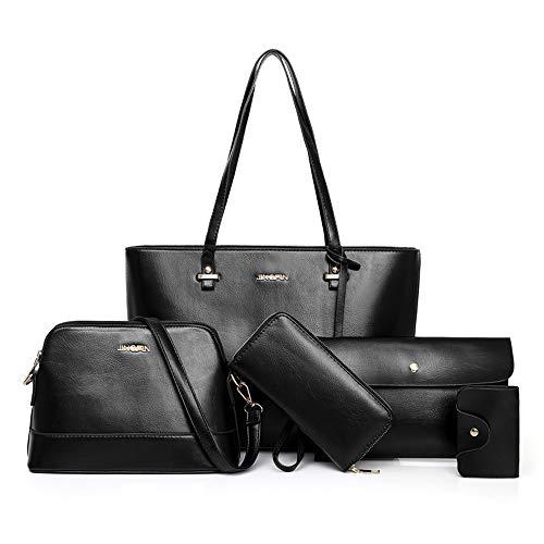 Handtaschen-Set für Damen 5er Pack Tote Geldbörse Handtaschen Set PU-Leder Schulranzen Umhängetasche Brieftasche Kartenhalter Taschenset, Schwarz